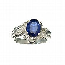 APP: 3.4k 18KT White Gold, 1.92CT Oval Cut Blue Sapphire And  Diamond Ring