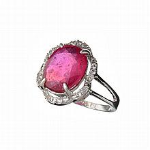 APP: 3.1k Designer Sebastian 5.10CT Ruby And Colorless Topaz Platinum Over Sterling Silver Ring