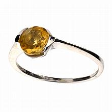 APP: 0.4k Designer Sebastian 1.50CT Round Cut Citrine Quartz and Sterling Silver Ring