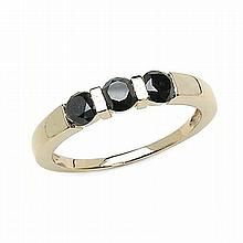 *1.26CT Round Cut Black Diamond And Sterling Silver, 14K Gold Over Lay Ring (Q QR5014BD120-SS14KY)