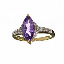 APP: 1.1k 1.67CT Purple Ametyst Quartz And Colorless Topaz Yelloe Gold Over Sterling Silver Ring