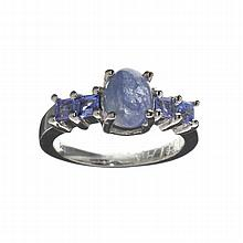 APP: 2.8k 2.97CT Violet Blue Tanzanite And Platinum Over Sterling Silver Ring
