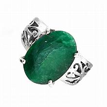 APP: 1.8k Designer Sebastian 6.55CT Oval Cut Emerald and Sterling Silver Ring