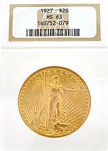 ^*1927 $20 U.S. MS 63 Saint Gaudens Gold Coin
