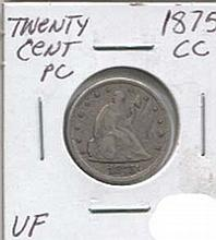 1875-CC Twenty Cent Piece VF Coin