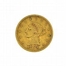 1854 $2.5 Liberty Head Gold Coin