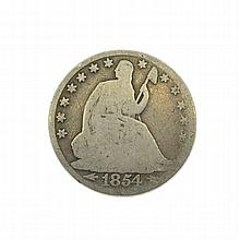1854-O  Arrows At Date Libery Seated Half Dollar Coin