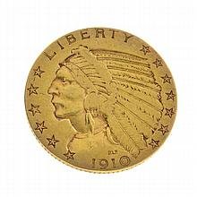 *1910 $5 U.S. Indian Head Gold Coin