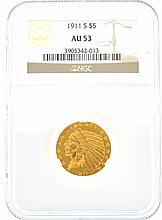 *1911-S $5 U.S. AU 53 Indian Head Gold Coin (DF)