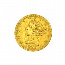 1886-S U.S. $5 Liberty Head Gold Coin