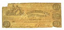 1861 $10 Confederate Note