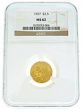 *1927 $2.5 U.S. MS 62 NGC Indian Head Gold Coin (DF)