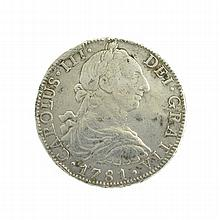 1781 Eight Reales American First Silver Dollar Coin