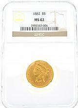 *1882 $5 U.S. MS 62 Liberty Head Gold Coin (DF)