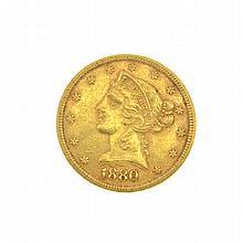 1880 U.S. $5 Liberty Head Gold Coin