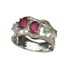 APP: 1.7k Fine Jewelry 1.00CT Ruby And Colorless Topaz Platinum Over Sterling Silver Ring