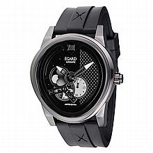 *Egard Men's Passages Limited Edition Stainless Steel Case, Rubber Strap, Black Dial Automatic Movement, Scratch Resistant Sapphire (DM PSG-BLK)