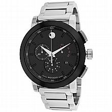 *Movado Men's Museum Stainless Steel Case, Stainless Steel Bracelet, Black Dial, Quartz Movement, Scratch Resistant Sapphire (DM 606792)