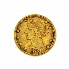 1881 $5 Liberty Head Gold Coin