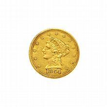 1854 $2.5 U.S. Liberty Head Gold Coin