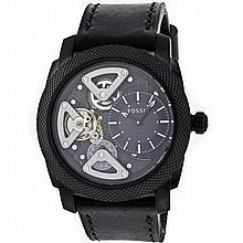 *Fossil Men's Twist Skeleton Stainless Steel Case, Leather Strap, Black Dial, Quartz Movement, Scratch Resistant Mineral, Water Resistant up to 5 ATM - 50 meter - 165 feet