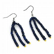 APP: 0.9k 40.00CT Round Cut Bead Blue Sapphire And White/Yellow Sterling Silver Earrings