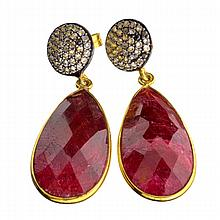 APP: 1.5k 28.00CT Ruby And Topaz Gold Over Sterling Silver Earrings