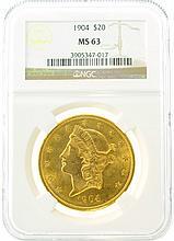 *1904 $20 MS 63 NGC Liberty Gold Coin (DF)