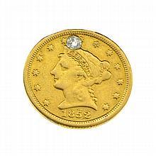 1852 $2.5 U.S. Liberty Head Gold Coin With Diamond