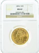 *1894 $10 MS 62 NGC Liberty Gold Coin (DF)
