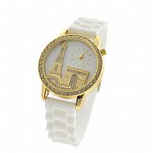 New Ladies Quartz Water Resistant, Stainless Steel, White Rubber Strap Watch