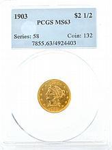 *1903 $2.50 U.S. PCGS MS63 Liberty Head Gold Coin (DF)