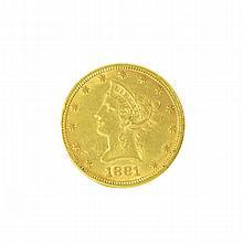 *1881 $10 U.S. Liberty Head Gold Coin (DF)