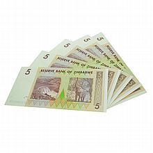 (4) $5 Zimbabwe Elephant Note