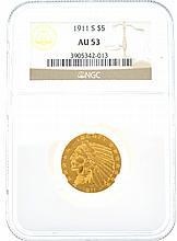 *1911-S $5 U.S. AU 53 Indian Head Gold Coin (DF)