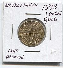 *1593 Netherlands 1 ducat gold Loop Removed Coin (JG N1ducatj1816)