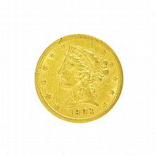 1903-S $5 U.S. Liberty Head Gold Coin