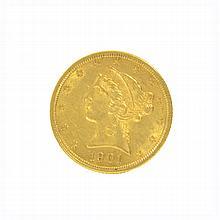 *1901 $5 U.S. Liberty Head Gold Coin (DF)