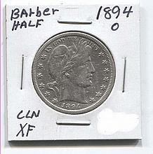 *1894-O Barber 50c Cleaned XF Coin (JG 1894O50cj1816)