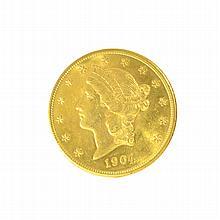 *1904 $20 U.S. Liberty Head Gold Coin (DF)