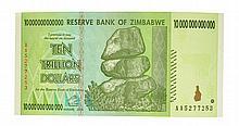 10 Trillion Dollar Zimbabwe Note