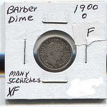 *1900-O Barber Dime XF Scratched Coin (JG 1900O10cj1816)