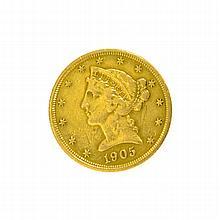 1905-S $5 U.S. Liberty Head Gold Coin