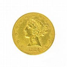 *1886-S $5 U.S. Liberty Head Gold Coin (DF)
