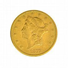 ^*1877 $20 U.S. Liberty Head Gold Coin