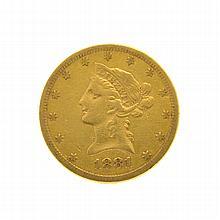 1881-S $10 U.S. Liberty Head Gold Coin