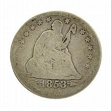 1853 Arrows At Date Liberty Seated Quarter Coin