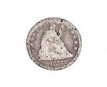 1877-CC Liberty Seated Quarter Dollar Coin
