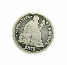 1876 U.S One Dime Liberty Seated Type Coin