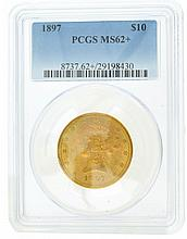 *1897 $10 U.S. PCGS MS62+ Liberty Gold Coin